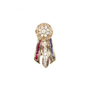14K Gold Best in Show Ribbon with Rosette Featuring Diamond Cluster with Ruby, Diamond and Sapphire Streamers