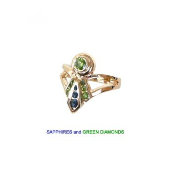 14K Gold High in Trial Ladies' Ribbon Ring with Sapphires and Green Diamonds