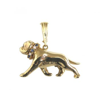 14K Gold Large Trotting Bullmastiff with Genuine Gemstone Collar
