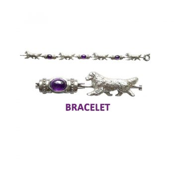 Solid Sterling Newfoundland Bracelet with Amethyst Cabochon Links