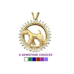 14K Gold Trotting Airedale Terrier in Diamond Circle