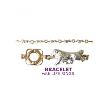 Sterling Newfoundland Bracelet with 14K Gold Life Ring Links