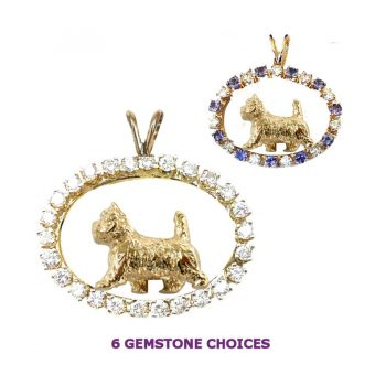 ONE of a KIND 14K Gold Cairn Terrier in Diamond Oval