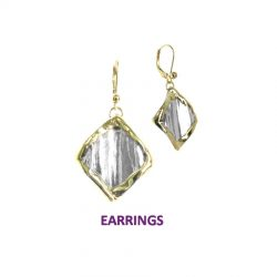 Handmade Sterling Diamond Shape Earrings with 14K Gold Wire Edging