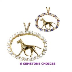 ONE of a KIND 14K Gold Great Dane in Diamond and Tanzanite Oval