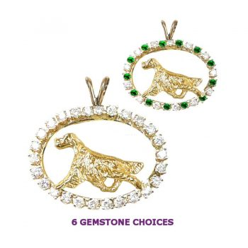 ONE of a KIND 14K Gold Irish Setter in Diamond and Emerald Oval
