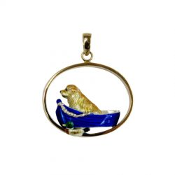 Exclusive Enamel Golden Retriever in Boat with Duck on 14K Gold Oval Pendant