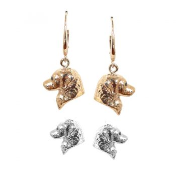 14K Gold or Sterling Golden Retriever Earrings with Black Diamond Eyes