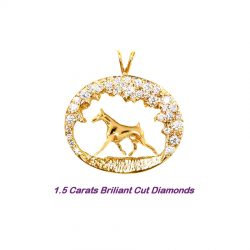 One of a Kind Doberman Pinscher Scene with 1.5 Carats of Diamonds