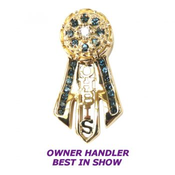 14K Gold Owner Handler Best in Show Ribbon with Rosette Featuring Deep Blue Topaz and Diamond