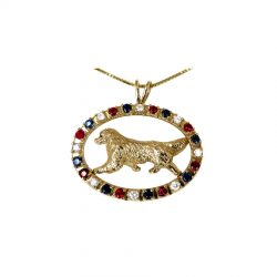 14K Gold Best in Show Oval with Diamonds, Rubies, & Sapphires and featuring YOUR breed.