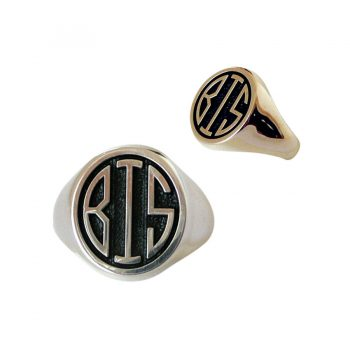 Best in Show Monogram Men's Ring in Sterling Silver or 14K Gold