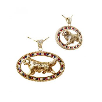 14K Gold Large Best in Show Oval Featuring Your Winning Dog Breed