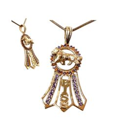 14K Gold BISS Ribbon with Rosette Featuring Your Golden Retriever