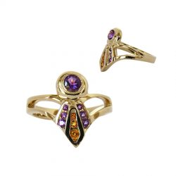 14K Gold Best in Specialty Show Ladies' Ribbon Ring with Amethysts and Citrines