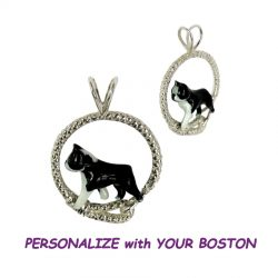 14K Gold or Sterling Boston with Personalized Enamel Artwork