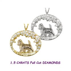 One of a Kind Stunning 14K Gold Cairn Terrier in 1.5 Carat Diamond Scene