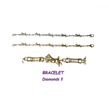 14K Gold Running Norwich Terrier Bracelet with Diamond Links