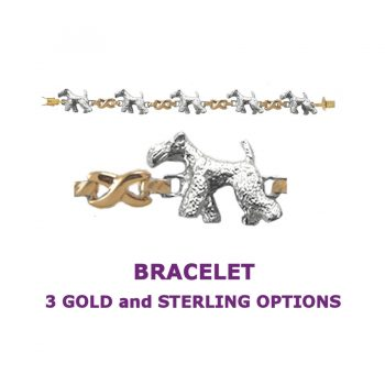 Airedale Terrier X-Link Bracelet with 3 options in 14K Gold or Sterling Silver