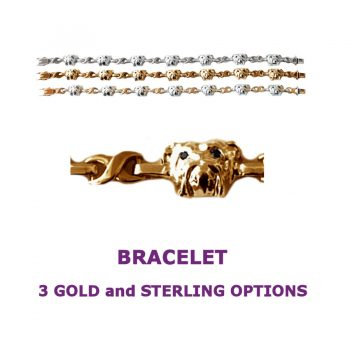 Bulldog Heads X-Link Bracelet with 3 options in 14K Gold or Sterling Silver