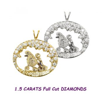 One of a Kind Stunning 14K Gold Poodle in 1.5 Carat Diamond Scene