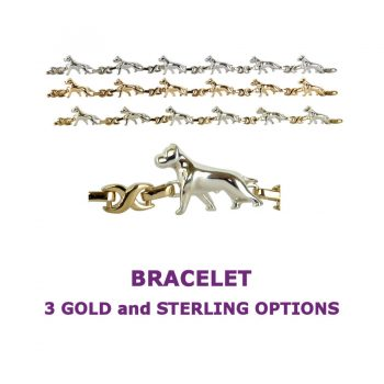American Staffordshire Am Staff X-Link Bracelet with 3 options in 14K Gold or Sterling Silver