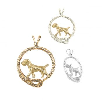 Fabulous Border Terrier in Leash; 14K Gold, Sterling and Combo options