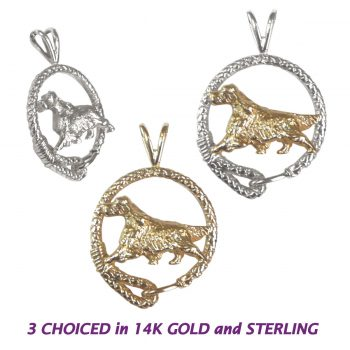 Stunning Moving English Setter in Leash in 14K Gold, Sterling, or Combo