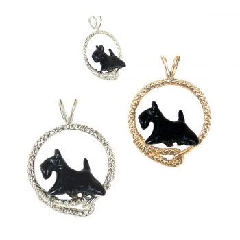 Fabulous Custom Enamel Scottish Terrier Scottie in Leash; 14K Gold or Sterling