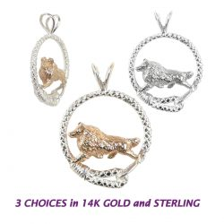 Gorgeous Shetland Sheepdog Sheltie in Leash in 14K Gold, Sterling, or Combo