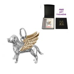 Solid Sterling Labrador Retriever Angel Charm with Solid 14K Gold Wings Memorial Gift