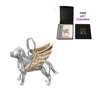 Labrador Retriever Angel Charm with Solid 14K Gold Wings Memorial Gift
