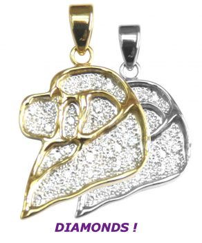 14K Gold Newfoundland Head Silhouette Pavé in Full Cut Diamonds