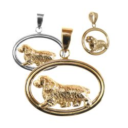 Sussex Spaniel in Double Oval Pendant with 14K Gold and Sterling Choices