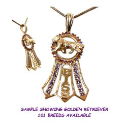 BISS Ribbon with Rosette in 14K Gold and Genuine Gemstones Featuring YOUR Dog Breed