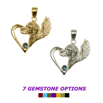 Golden Retriever with Angel Wings and Gemstone Accent Memorial Charm in 14K Gold or Sterling