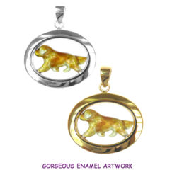 Exclusive Enamel Golden Retriever Pendant in Classic 14K Gold