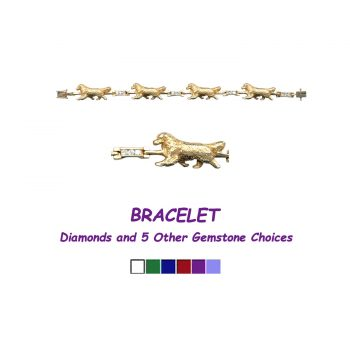 Golden Retriever Bracelet with Diamond Links - Other Gemstones available