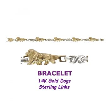 Golden Retriever X-Link Bracelet with 14K Gold Dogs and Sterling Silver Links