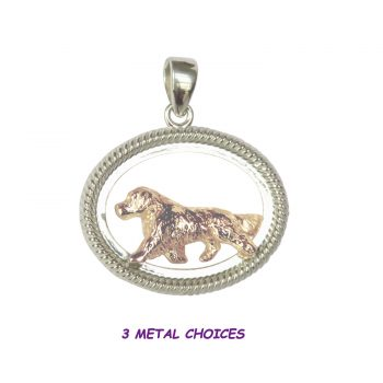Golden Retriever in Braided Oval Frame in 14K Gold and Sterling Options