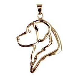 14K Gold or Sterling Silver Golden Retriever Head in Silhouette