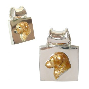 14K Gold or Sterling Silver Pendant with Enamel Golden Retriever