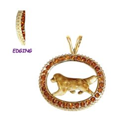 14K Gold and Enamel Golden Retriever with Genuine Topaz and Exquisite Filigree Edging