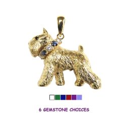 14K Gold or Sterling Silver Large Trotting Miniature Schnauzer with Gemstone Collar