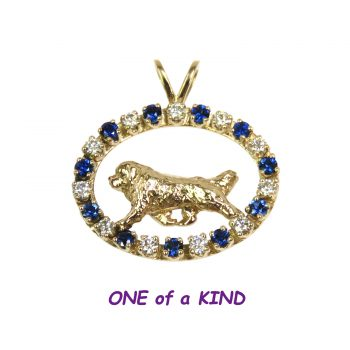 ONE of a KIND 14K Gold Newfoundland in Diamond and Sapphire Oval