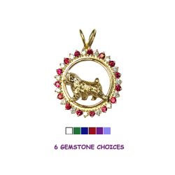 14K Gold Norwich Terrier in Diamond and Precious Gemstone Circle