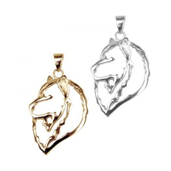 14K Gold or Sterling Silver Samoyed Head in Silhouette
