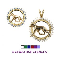 14K Gold Whippet in Diamond and Precious Gemstone Circle