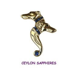 14K Gold Spectacular Double Whippet Head with Ceylon Sapphires