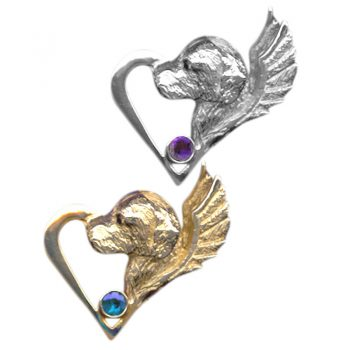 14K Gold or Sterling Memorial Golden Retriever Head with Wings and Gemstone Highlight